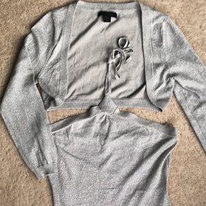 Women's M metallic silver 62% silk matching set